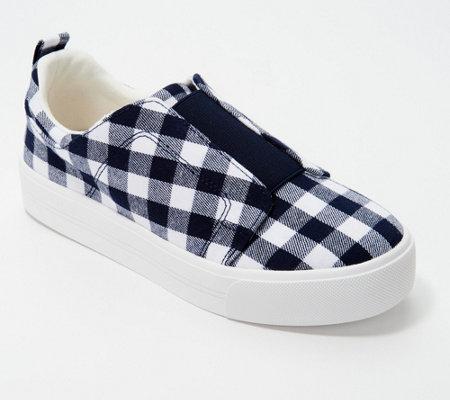 As Is Isaac Mizrahi Live Gingham Printed Canvas Slip On Sneakers