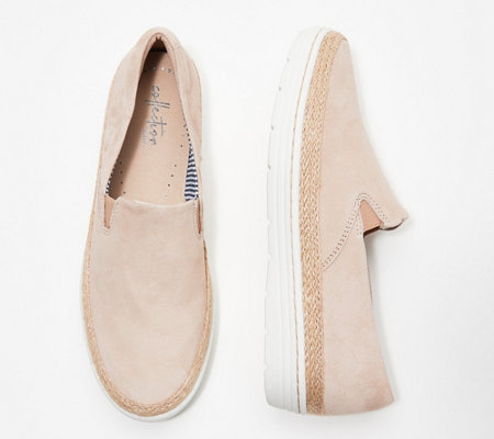 As Is Clarks Collection Leather Slip On Shoes Marie Pearl