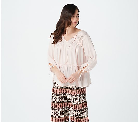 Haute Hippie Tribe 'Grace' Printed 3/4 Sleeve Blouse