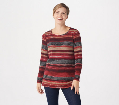 """As Is"" Susan Graver Printed Sweater Knit Long Sleeve Tunic"