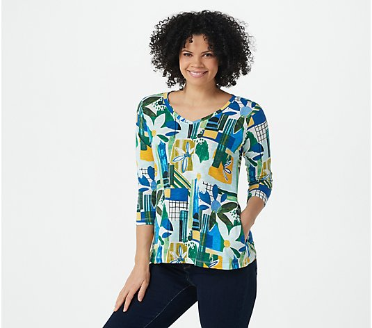 LOGO by Lori Goldstein 3/4 Sleeve Printed Cotton Slub Top