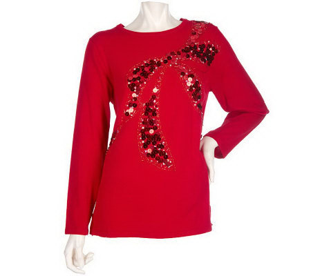 Quacker Factory Jewel Neckline Sequin Bow Long Sleeve Tunic Sweater