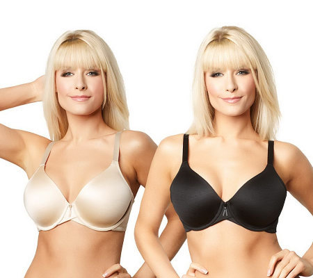 Barely Breezies Set of 2 Modesty Lined Full Coverage T-Shirt Bras