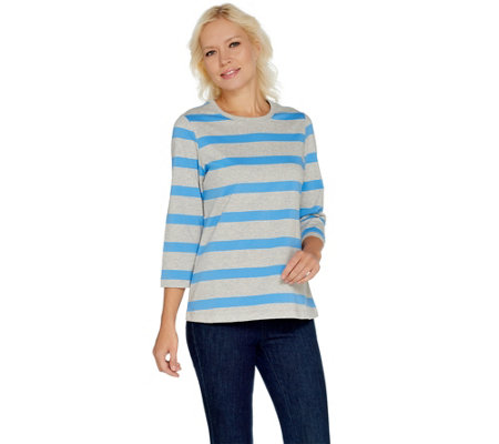 Denim & Co. Perfect Jersey 3/4 Sleeve Heather Stripe Top