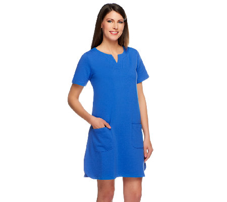 Susan Graver Weekend French Terry Short Sleeve Dress w/Split V-Neck