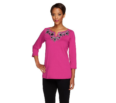 Bob Mackie's Split Neck Top with Embroidered Neck Detail