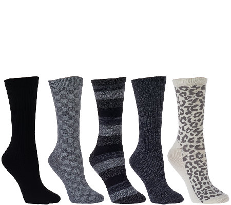 Cuddl Duds Plushfill Mid-Weight Boot Socks Set of Five