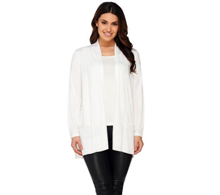 Susan Graver Open Front Long Sleeve Cardigan Sweater