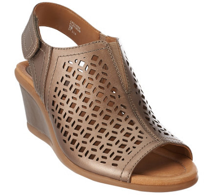 Earth Leather Wedge Sandals with Cut-Out Details - Cascade