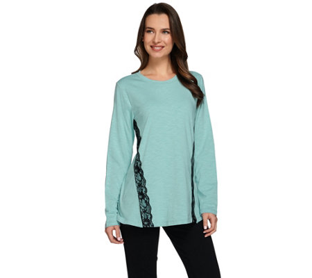Studio By Denim & Co. Long Sleeve Top with Lace Detail