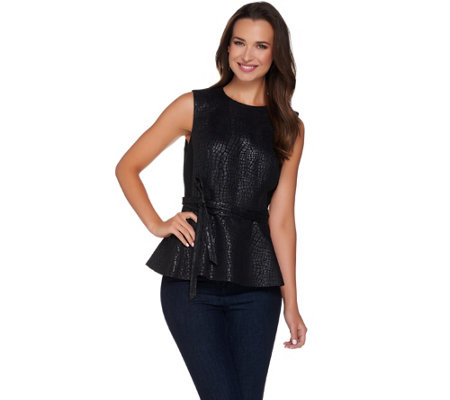 G.I.L.I. Printed Faux Leather Sleeveless Peplum Top