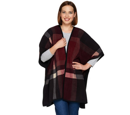 Denim & Co. Plaid Printed Reversible Open Front Fleece Poncho
