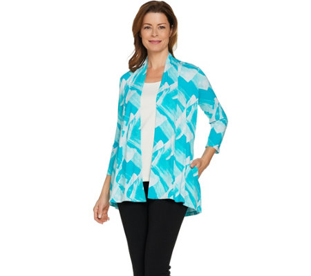 H by Halston Brush Stroke Print Open Front Cardigan