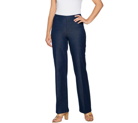 H by Halston Regular Studio Stretch Wide Leg Pull-on Pants
