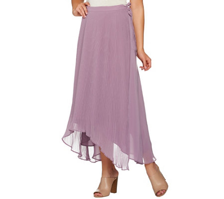 """As Is"" H by Halston Pleated Wrap Skirt with Side Tie Detail"
