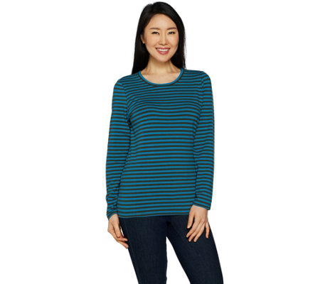 Denim & Co. Perfect Jersey Striped Long Sleeve Crew Neck Top