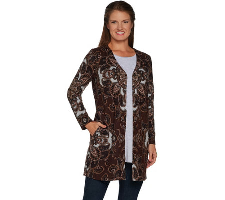 Susan Graver Printed Sweater Knit Button Front Duster