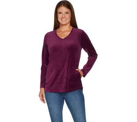 Denim & Co. Active Regular Velour Tunic with Pockets