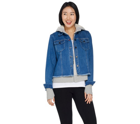 Peace Love World Novelty Denim Jacket with French Terry Hoodie