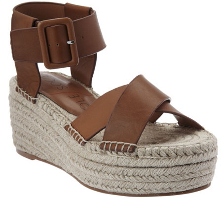 """As Is"" Sole Society Leather Espadrille Platform Wedges - Audrina"