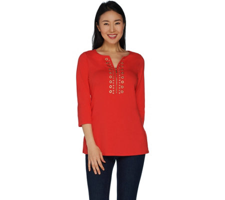 Belle By Kim Gravel TripleLuxe Knit Embellish Top with Zipper