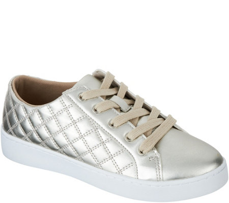 """As Is"" Isaac Mizrahi Live! SOHO Metallic Quilted Lace-up Sneakers"