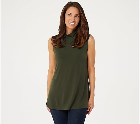 Susan Graver Modern Essentials Liquid Knit Mock Neck Top