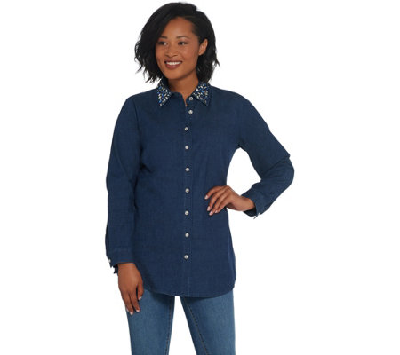 Quacker Factory Button Front Denim Tunic with Rhinestone Collar