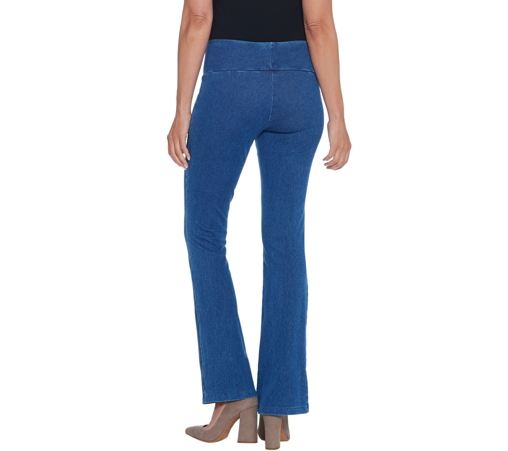 Women with Control Petite Stretch Denim Low Bell Jeans Stone PL NEW A342078