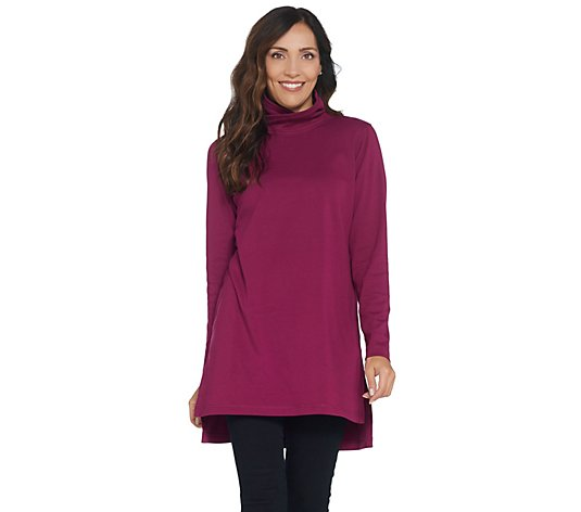 Isaac Mizrahi Live! SOHO Funnel Neck Long Sleeve Side Slit Tunic