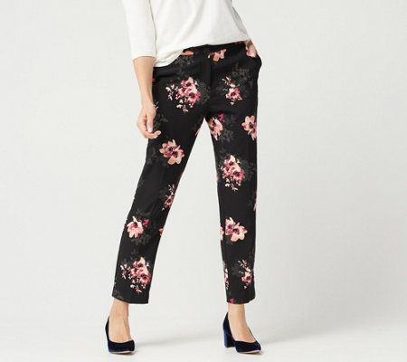 Susan Graver Petite Stretch Woven Zip-Front Ankle Pants