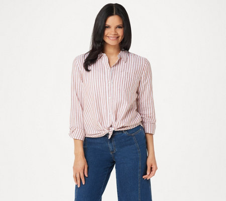 Rachel Hollis Ltd Striped Button Front Blouse