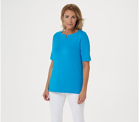 Denim & Co. Boat Notch Neck Elbow-Sleeve Top