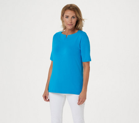 Denim Co Boat Notch Neck Elbow Sleeve Top