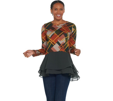As Is Logo By Lori Goldstein Cotton Modal Top With Woven Chiffon