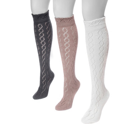 Muk Luks Women S 3 Pair Pack Pointelle Knee High Socks