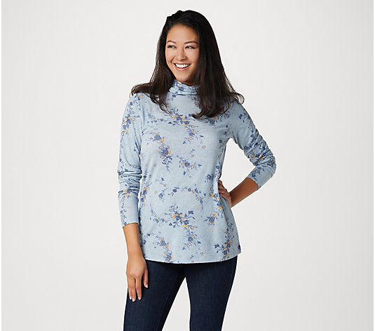 Isaac Mizrahi Live! TRUE DENIM Ditsy Floral Printed Knit Turtleneck