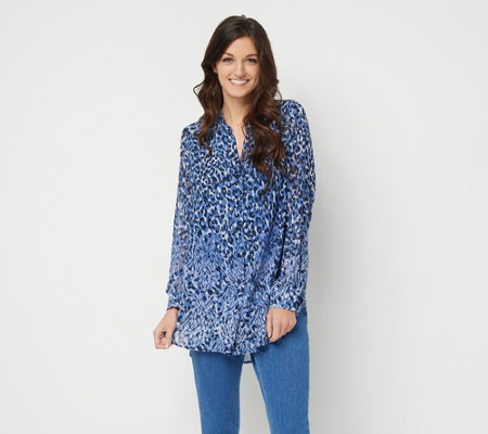 Belle by Kim Gravel Animal Print Button Front Blouse