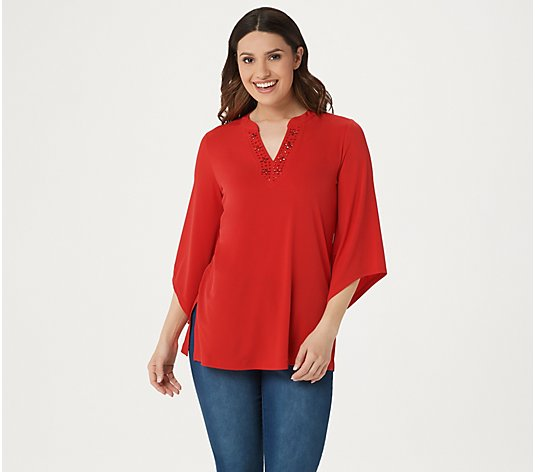 """As Is"" Susan Graver Artisan Liquid Knit Split-Neck Tunic"
