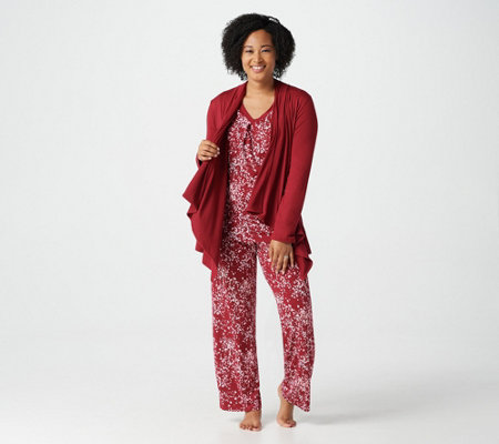 """As Is"" Carole Hochman Sueded Jersey 3-Piece Pajama Set"