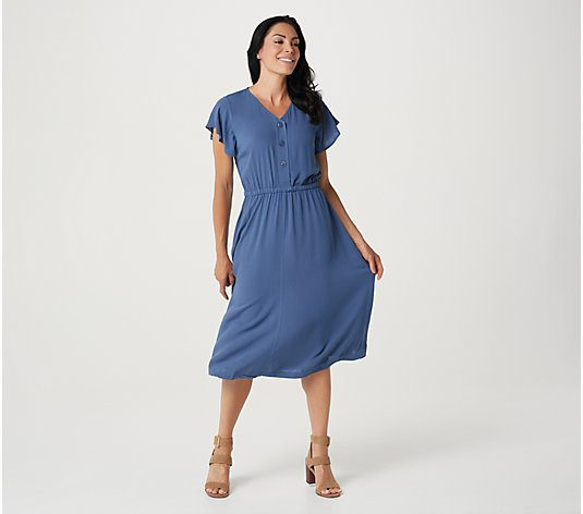 Denim & Co. Naturals Solid Rayon Ruffle Sleeve Midi Dress