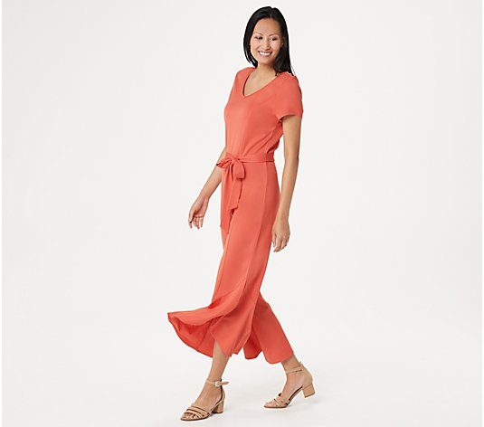 """As Is"" Isaac Mizrahi Live! Tie-Waist Knit Jumpsuit with Ruffle"
