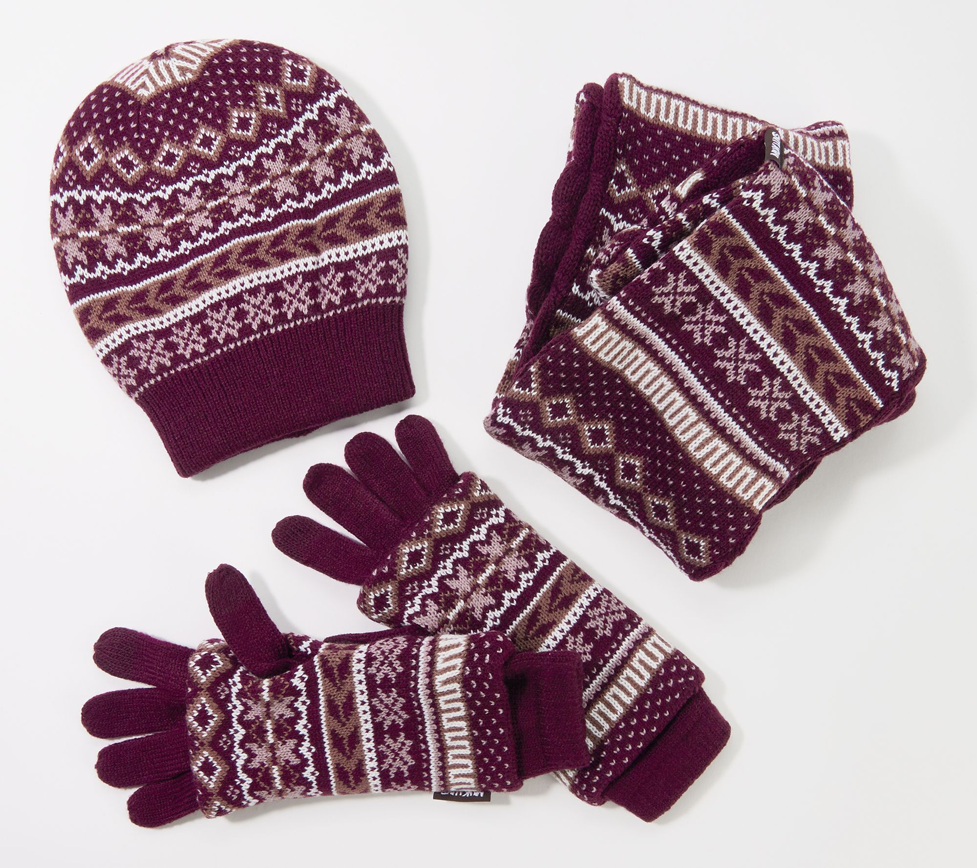 Muk Luks Women S Reversible Hat Scarf And 3 In 1 Glove Set Qvc Com