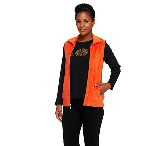 Quacker Factory Sparkle Velour Vest with Rhinestud Long Sleeve Tee