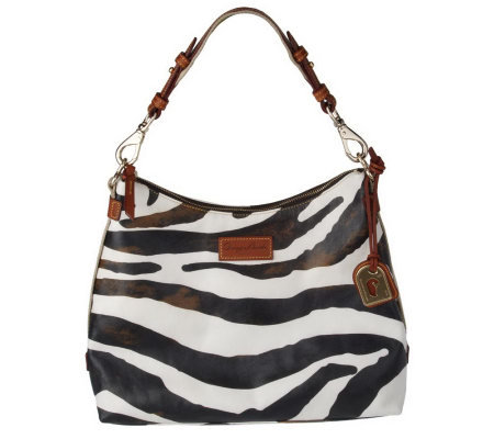 Dooney Bourke Leather Zebra Juliette Hobo Bag