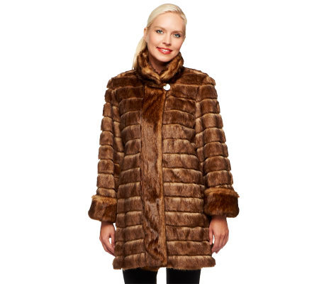 Dennis Basso Platinum Collection Pieced Faux Mink Coat