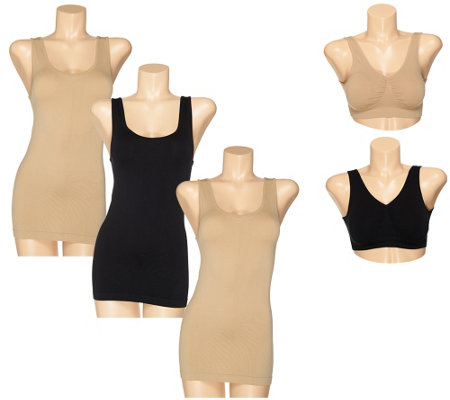 Genie Bra Seamless 5-Piece Smoothing Tank & Bra Set