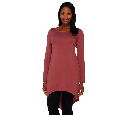 LOGO Layers by Lori Goldstein Long Sleeve Knit Tunic with Point Back Hem