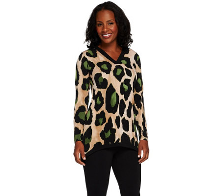Susan Graver Printed Liquid Knit Long Sleeve V-neck Top