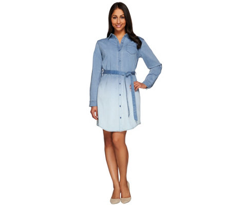 Isaac Mizrahi Live! TRUE DENIM Ombre Tie Waist Shirt Dress